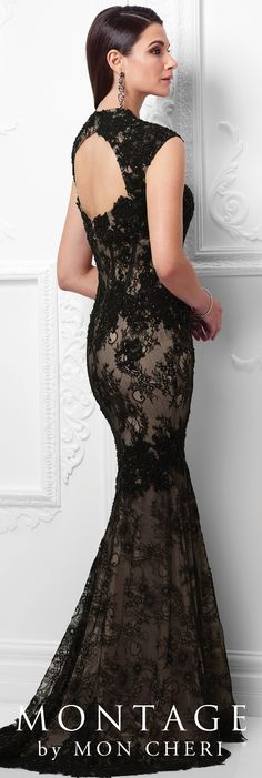 Formal Evening Gowns by Mon Cheri - Spring 2017 - Style No. 117921 - black and nude lace evening dress with cap sleeves and keyhole back