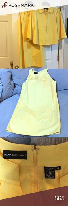 """Dana Buchman 2 piece dress/jkt 100 % cotton canary yellow!! The HAPPY COLOR😀💛 worn once just came from dry cleaner . Dress Measures 40"""" across chest length from shoulder to knee is approx 37 1/2"""" Dana Buchman Dresses Midi"""