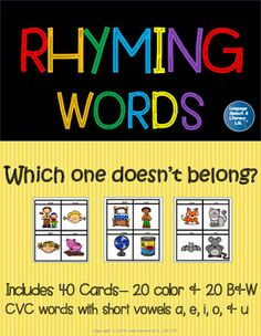 This activity is used to help early childhood and kindergarten students practice phonological awareness (rhyming) skills.  This packet contains 40 cards (20 color and 20 B&W). Each card has a set of 4 CVC pictures/word which include short vowels a, e, i, o, & u.
