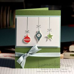 Ornaments – All supplies from Stampin' Up! Hung Up on the Holidays set; Soft Sky, Whisper White, and Wild Wasabi card stock; Blue Bayou, Ruby Red, and Wild Wasabi Classic pads; Soft Sky double stitched grosgrain.