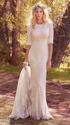 maggie sottero spring 2017 bridal half sleeves jewel neckline full embellishment elegant conservative sheath wedding dress full back chapel train (mckenzie marie) mv