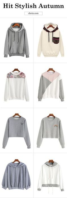 Hit flattering autumn with cozy sweatshirt! White sweatshirt, grey sweatshirt and more for your cool fall day!