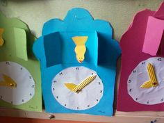 Clock craft idea for preschool kids Clocks of small town There was a small town in [. Kindergarten Crafts, Preschool Crafts, Clock For Kids, Art For Kids, Mickey Mouse Crafts, Origami, Clock Craft, Math Activities For Kids, Bible Crafts For Kids