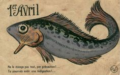 A vintage French April Fool's Day fish illustration. #vintage #April_Fools_Day #fish