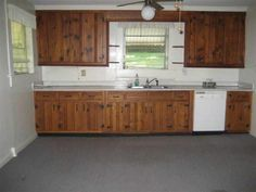 Kitchen. Tear out flooring and see if thereu0027s hardwood. Then paint the  knotty pine