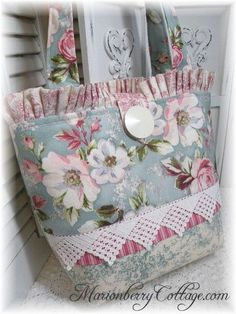 French Provence blue Pink Roses & toile tote purse