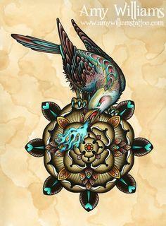 Brown Geometric Tudor Rose Bird Tattoo Art  A3 Print. £20.00, via Etsy.