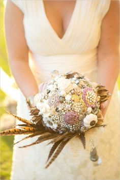 Brooch bouquet ideas. Captured By: Stephanie N. Baker. ---> http://www.weddingchicks.com/2014/06/06/funky-finds-turned-into-surprising-centerpieces/