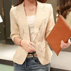 Summer Style Thin Blazer Women Linen Cotton Notched Slim Blazer Three Quarter Sleeve Thin Cardigan Kimono blazer feminino C5701