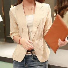 Summer Style Thin Blazer Women Linen Cotton Notched Slim Blazer Three Quarter Sleeve Thin Cardigan Kimono blazer feminino C5701