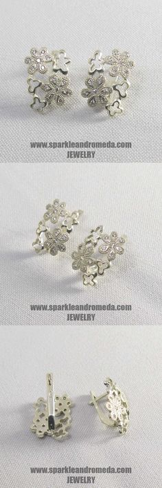 Sterling 925 silver earrings with 4 round mm and 24 round mm white color cubic zirconia gemstones. 925 Silver Earrings, Wedding Rings, Engagement Rings, Gemstones, Handmade, Color, Jewelry, Enagement Rings, Schmuck