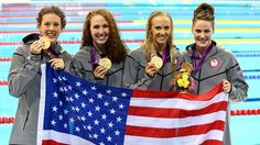 (L-R) Allison Schmitt, Dana Vollmer, Shannon Vreeland and Missy Franklin of USA pose with their medals following the Victory Ceremony for the women's 4x200m Freestyle Relay on Day 5 of the London 2012 Olympic Games at the Aquatics Centre