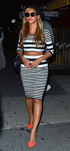 black and white stripe crop top and midi skirt set + salmon heels