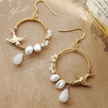 Little Bird & Pearl Hoops