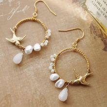 Little Bird & Pearl Hoops