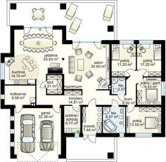 Goliat III NF40 projekt - Parter 171.21 m² + garaż 32.38 m²