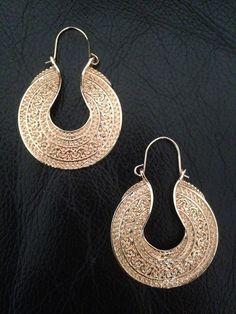 Earrings Hoop Afghan Arabic Gold Ethnic Boho Belly Dance Tribal Gypsy Bohemian