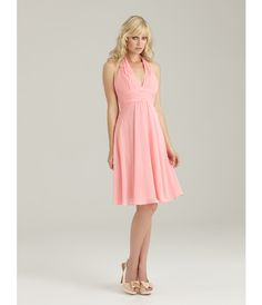 2013 Allure Bridesmaid - Blossom Ruched Chiffon Halter Bridesmaid Dress - Unique Vintage - Cocktail, Pinup, Holiday & Prom Dresses.