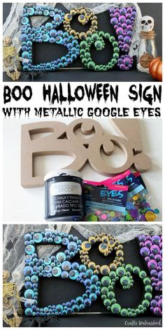 Put the fright and fun into Halloween with our google eye Halloween boo sign. It's easy to make and will look great in any Halloween display!