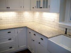 Shade Of White Subway Tile Backsplash With White Cabinets #4 Decor Ideas