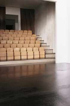 Raked timber seating of main theatre space; Theres Hollenstein