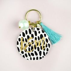 Moon and Lola - Patterned Script Keychain with Charms