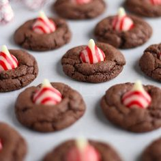 Chocolate Candy Cane Cookies that take only 4 ingredients to make!