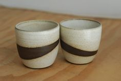 Rustic Black & White Pottery  Set of 2 by SoulVesselDesigns