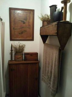 I love how they took that box, attached it to the wall (upside down) and used it as a TOWEL holder.