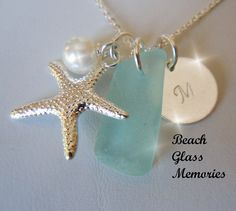 Personalized Sea Glass Jewelry  Pendant Necklace  Beach Glass Jewelry