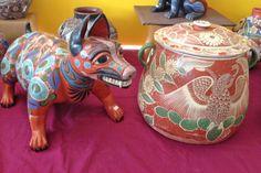 """Angel Ortiz Gabriel at Folk Art Market, Santa Fe, New Mexico 2013. Burnished Clay Pottery """"Vasija de Olor"""". From Tonala, Mexico"""