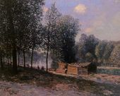 Cabins by the River Loing, Morning - Alfred Sisley - www.alfredsisley.org