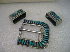 Vintage Sterling Silver Turquoise Petite Point Ranger Belt Buckle Set, S.M. Bahe #SMBahe
