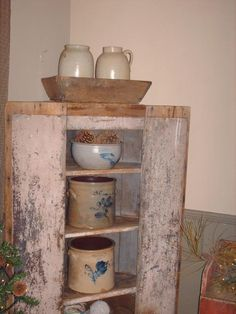 Old Chippy Cupboard...filled with old crocks & wooden bowl...pine.