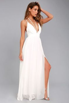 Lulus Exclusive! All eyes will be on you when you make your entrance in the Brilliant Beauty White Maxi Dress! Woven poly forms adjustable spaghetti straps that cross at back, and a second set that tie at a halter-neck. Plunging V-neck and fitted waist top the full maxi skirt with side slit. Hidden back zipper/clasp.