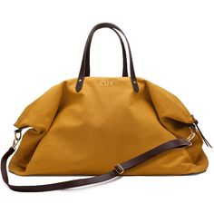 Canvas and Leather Weekender Bag Mustard