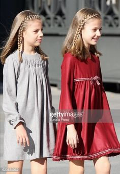 Princess Leonor and Princess Sofia attend the opening ceremony of 12th legislative session at the Spanish Parliament on Nov 17 2016 in Madrid.