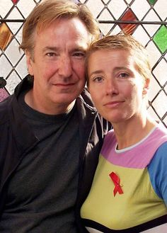 """Alan Rickman and Emma Thompson supporting the anti-poverty agency called """"Action Aid"""" at the Ivy in London. 2001 """"ActionAid"""" is an international non-governmental organization whose primary aim is to work against poverty and injustice worldwide."""