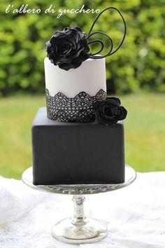 Beautiful Black Lace Two Tiered Wedding Cake
