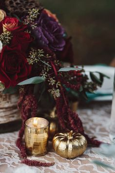 Brighten up your Thanksgiving table with gilded decor.