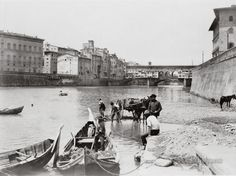 View's of Arno river with the Ponte Vecchio. Florence, Italy. 1910