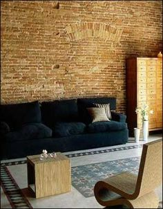 Brick veneer from Texture Faux Brick, Brick And Stone, Exposed Brick, Interior Architecture, Interior And Exterior, Home Structure, Playhouse Ideas, Old Bricks, Stone Veneer