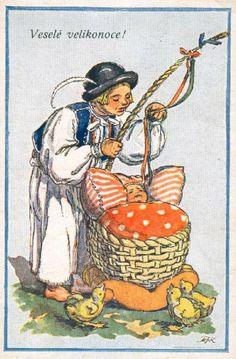 Marie Kvěchová-Fischerová Believe In God, The Kingdom Of God, Vintage Easter, Happy Easter, Childhood Memories, Vintage Photos, Joy, Seasons, Drawing