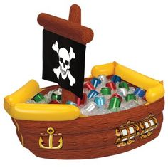 Pirate cooler can double as a party favor holder or to catch balls in a ball toss...