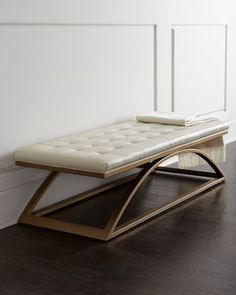"""55.5""""W x 23.5""""D x 16.5""""T. $2300 Span Bench by Candice Olson at Horchow."""