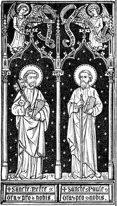 Woodcuts, Engravings, and Illustrations Sts. Peter and Paul, pray for us. Catholic Crafts, Catholic Art, Religious Art, Catholic Tattoos, Woodcut Art, Vintage Holy Cards, Christian Symbols, Religion, Albrecht Durer