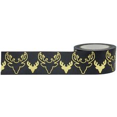 Gold Bucks on Black Washi Tape for Christmas and Holidays, 25mm Wide with Cutter by Little B for Crafts