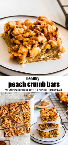 These Healthy Peach Bars are filled with a juicy and sweet peach filling & topped with a buttery grain-free shortbread crumble topping. They are like healthy peach pie bars made with simple pantry-friendly ingredients & make theperfecthealthy snack or dessert for summer with fresh or frozen peaches or any other summer fruit. These peach bars are not only incredibly delicious, they are also gluten-free, paleo, vegan & refined-sugar free. #vegan #paleo #peaches #crumbbars #peachpie
