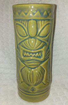 Polynesian Hawaiian Tall Tiki Cup Mug Green