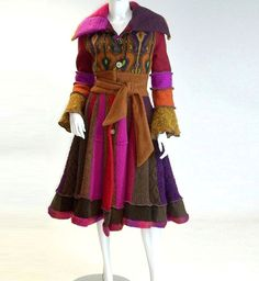 Flared Skirt Sweater Coat, Magenta and Brown, Marilyn Style, Size Extra Small (4-6)